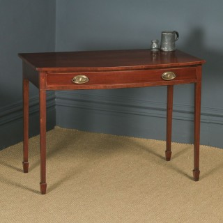 Antique English Georgian Regency Mahogany Inlaid Bow Front Side Table (Circa 1820)