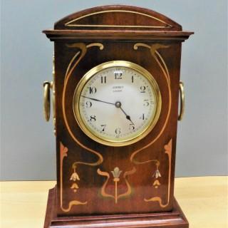 Art Nouveau Mahogany Mantel Clock