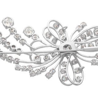 3.93ct Diamond and Platinum Spray Brooch - Vintage Circa 1940