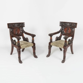 A Pair of Klismos Armchairs of Important Size