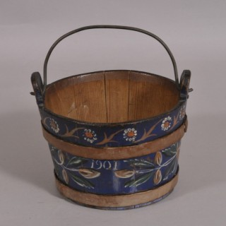 Antique Treen 19th Century Staved Pine Bucket