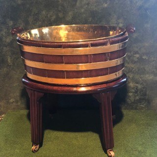 Chippendale period mahogany oval brass bounder planter