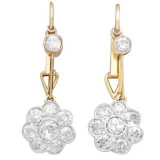 2.75 ct Diamond, 15 ct Yellow Gold and Platinum Drop Earrings - Antique Circa 1910