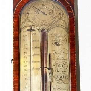 Fine rare mahogany stick barometer with cistern tube