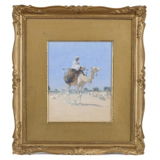 Orientalist Watercolour Painting of a Man Riding a Camel by Alphons Leopold Mielich