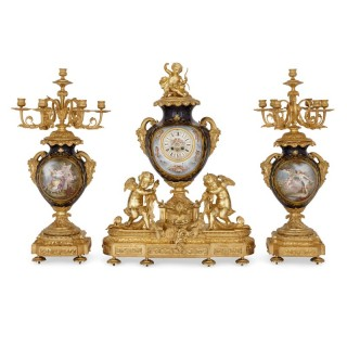 Three-Piece Louis XV Rococo Style Porcelain and Ormolu Clock Set