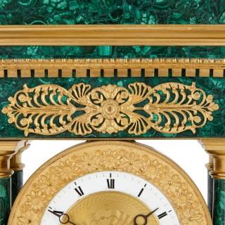 Empire Period Neoclassical Malachite and Gilt Bronze Mantel Clock