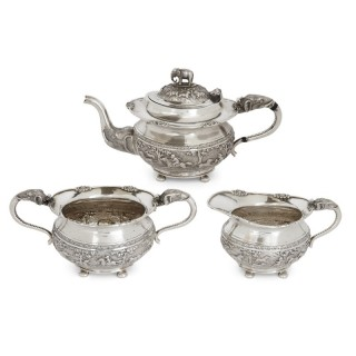 Bangalore Krishniah Chetty Silver Tea Set in Indian Animalier Style