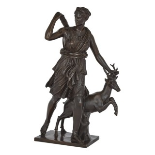 Classical Patinated Bronze Sculpture of Diana by Ferdinand Barbedienne