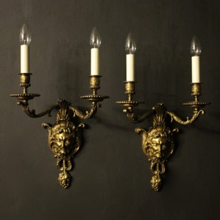 French 19th C Bronze Antique Wall Sconces