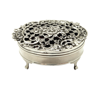 Antique Sterling Silver Pierced Lid Trinket Box 1925