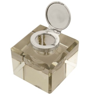 Cut Glass and Sterling Silver Desk Inkwell - Antique Victorian