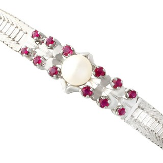 Pearl and 0.54ct Ruby, 15ct White Gold Bracelet - Vintage Circa 1970