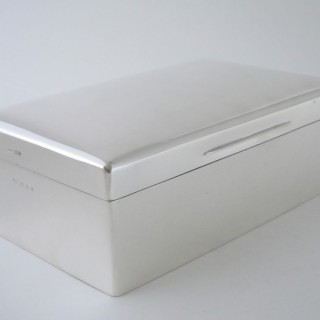 A Large Antique Sterling Silver Cigar Box