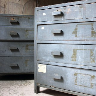 A Pair of Mid-20thC Painted English Art School Chests of Drawers c.1940-55
