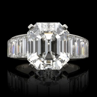 8.20ct F VS1 Vintage Emerald Cut Diamond Ring with Tapering Diamond Band by Cartier, Paris