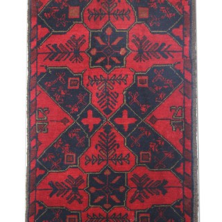 Small Red Handmade Antique Wool Afghan Rug, Oriental Carpet- 49x100cm