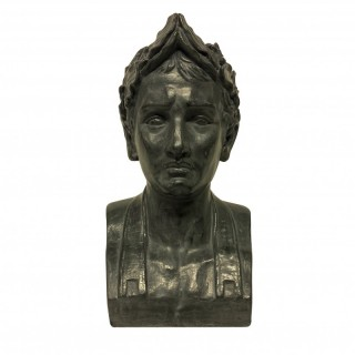 A PAINTED PLASTER BUST OF NAPOLEON