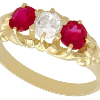 0.55ct Diamond and 0.80ct Ruby, 15ct Yellow Gold Dress Ring - Antique Victorian Circa 1900