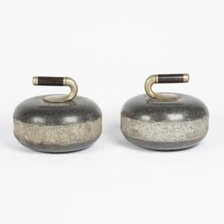 Pair of Victorian granite curling stones.