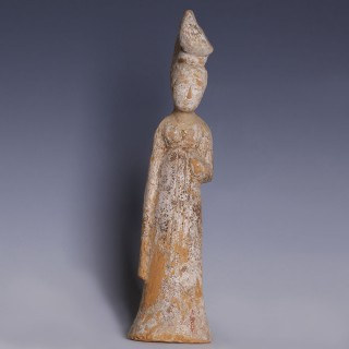 Sui-Tang Dynasty Unglazed Court Attendant Figurine