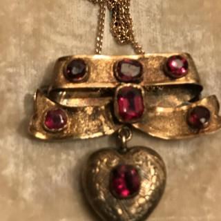 Antique Heart Pendant Brooch