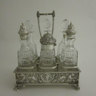 Antique Victorian Sterling Silver & Glass Cruet Stand and Bottles