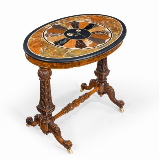 A mid-Victorian walnut and pietra dura table