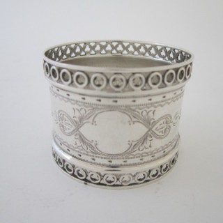 Antique Edwardian Sterling Silver Napkin Ring - 1907