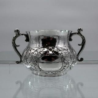 17th Century Antique Charles II Sterling Silver Porringer London 1664 Robert Pocock