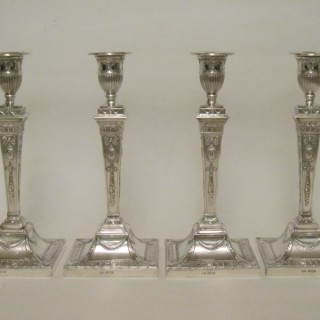 Antique George V Sterling Silver Candlesticks - 1920