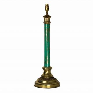AN ITALIAN EGLOMISE LAMP IN MINT GREEN GLASS
