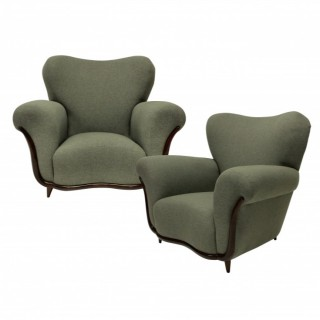 A PAIR OF LARGE SCULPTURAL ARMCHAIRS BY ULRICH