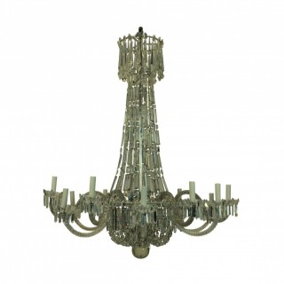 A LARGE XIX CENTURY TWELVE ARM CUT GLASS CHANDELIER