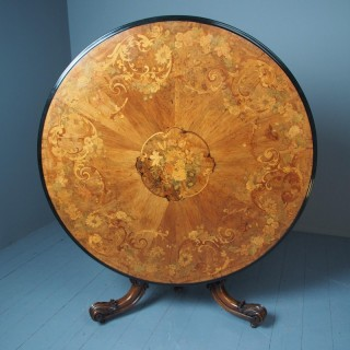 Large Victorian Marquetry Circular Breakfast Table
