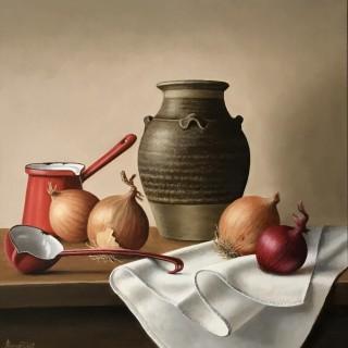 Stoneware Jar with Onions