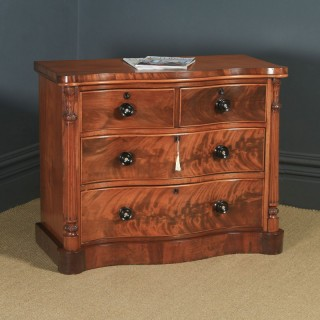 Antique English Victorian Flame Mahogany Serpentine Chest of Drawers (Circa 1860)