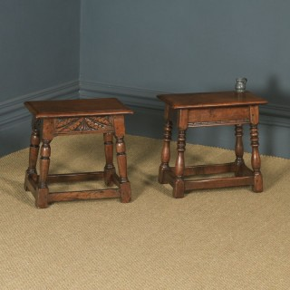 Antique English Pair of 17th Century Style Solid Oak Joint Stools / Side Tables (Circa 1920)