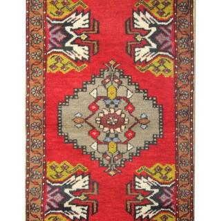Handwoven Anatolian, Small Oriental Wool Turkish Rug0 49x90cm