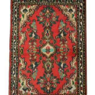 Hand Made Small Oriental Persian Rug, Traditional Red Wool Rug- 87x57cm