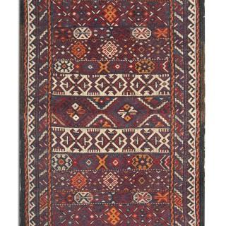 Traditional Oriental Wool Tribal Rug, Handmade Vintage Rug- 40x78cm