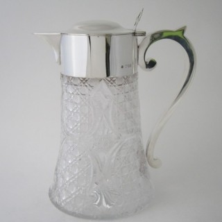 Antique Victorian Sterling Silver & Glass Lemonade Jug