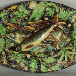 School of Paris Majolica Palissy Fish & Reptile Platter
