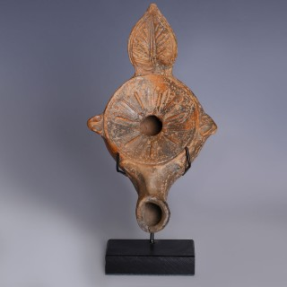 Roman Terracotta Oil Lamp with Leaf Protrusion