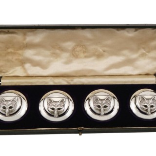 Sterling Silver Menu / Card Holders - Antique Edwardian (1909)