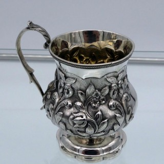Antique William IV Sterling Silver Christening Mug London 1830 George Burrows II & Richard Pearce