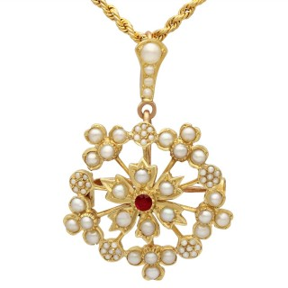 Ruby and Seed Pearl, 15ct Yellow Gold Pendant / Brooch - Antique Circa 1920