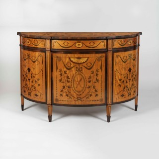 A George III Style Satinwood Demilune Commode