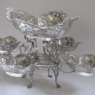 Antique Edwardian Sterling Silver Table Centrepiece - 1902