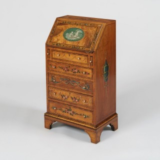 A Neoclassical Revival Satinwood Miniature Bureau